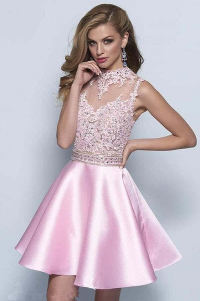 Neckline Keyhole A-line Pink Satin Homecoming Dresses PG082