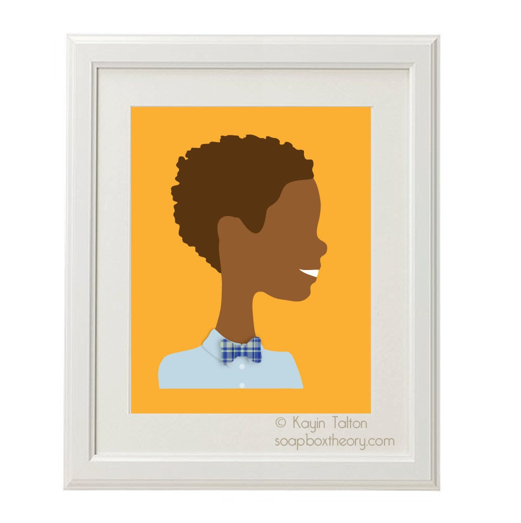 Boy with bow-tie and curls- Customized Children's art & decor