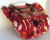 Jungle Boogie Burgundy Diva Fashion Tote Bag