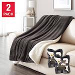 Life Comfort Ultimate Sherpa Throw, 2 Pack, Dark Gray