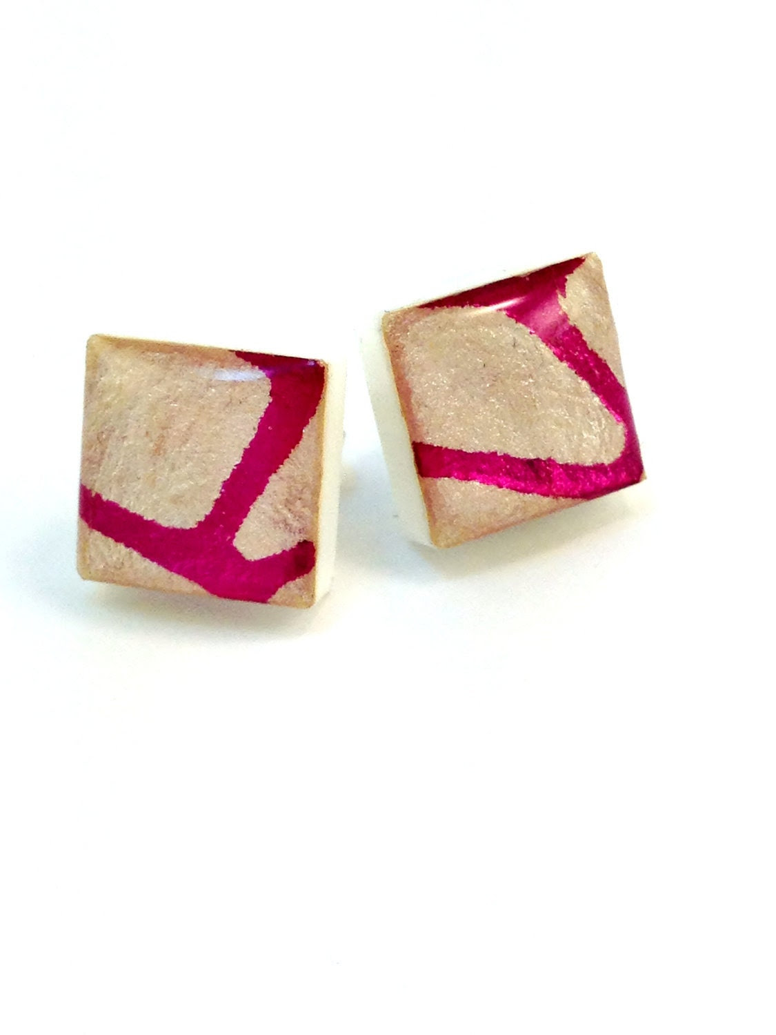 Resin Stud Earrings Square Ivory Pink Foil Embossed Acrylic
