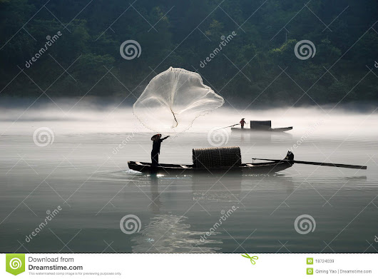 Fishing in the fog river stock image. Image of kelp, boat - 18724039