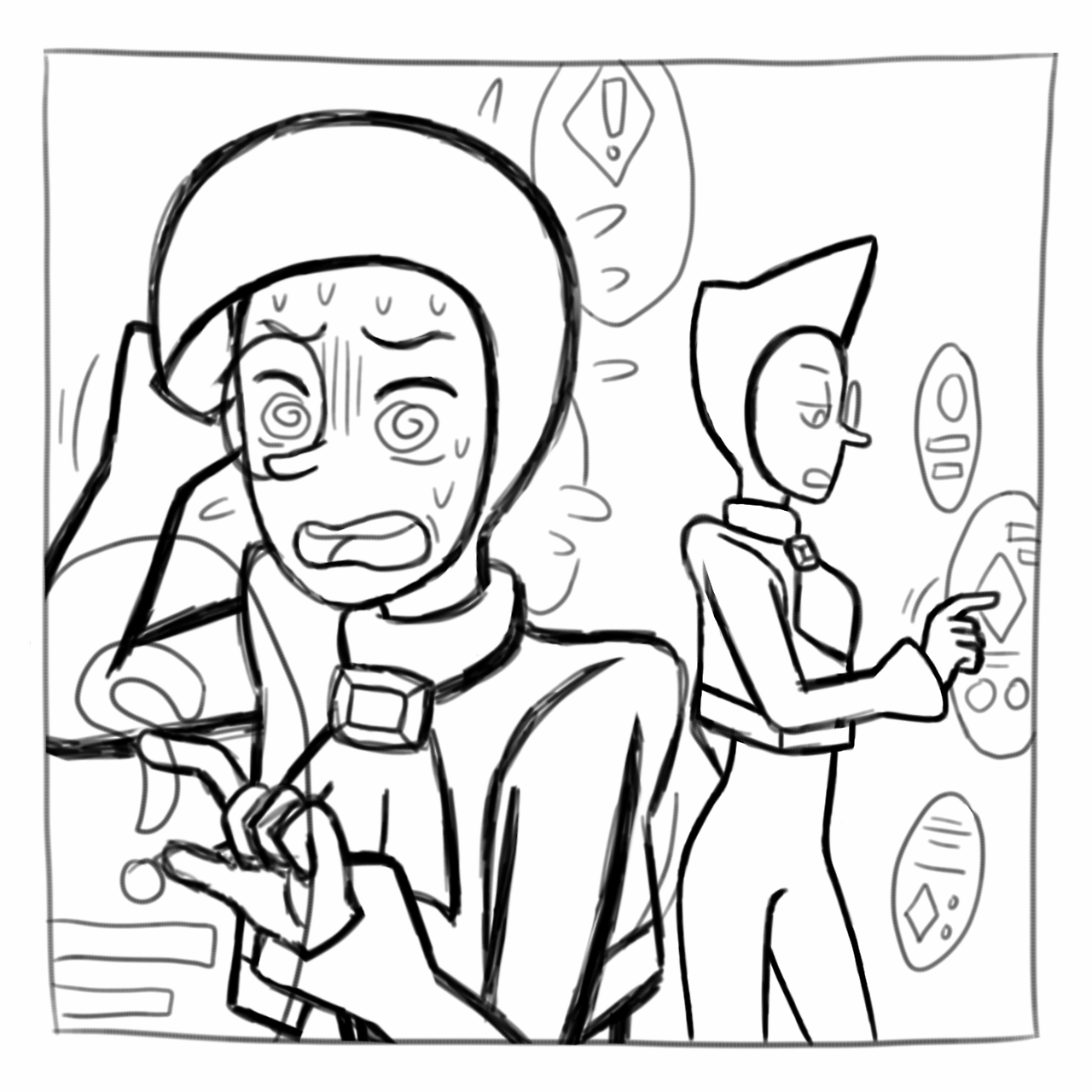 i rly…… cant stop drawing the zircons………… btw the 2nd pic is a panel preview of my upcoming fancomic that i really like the most :'D