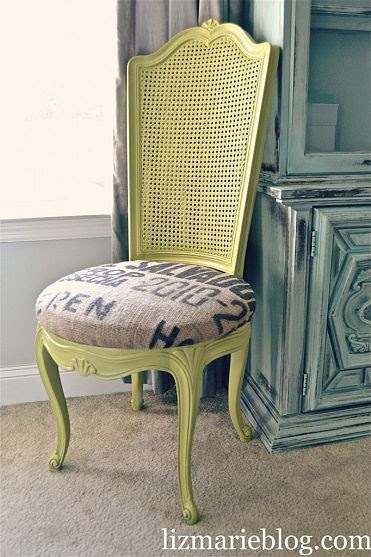 So easy to do with a thrift store find... find it at Goodwill, paint it and reupholster with upcycled sacks or leftover fabric.
