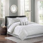Madison Park Hampton 7-Piece Comforter Set, White, Queen