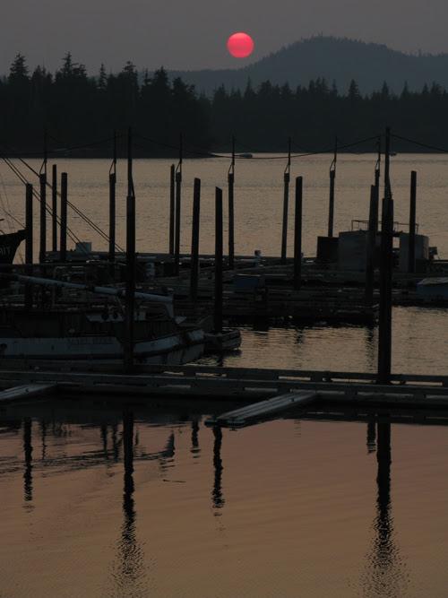 sunset over the Hydaburg Harbor, Hydaburg, Alaska