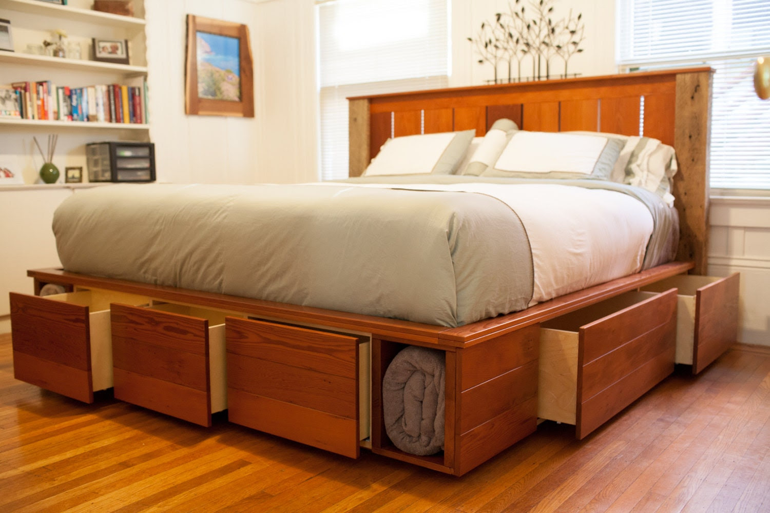 Items similar to King size captain's bed with storage made ...
