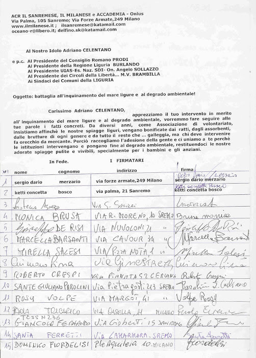 BATTAGLIA AMBIENTALISTA A SANREMO E IN LIGURIA..e a Bordighera ...