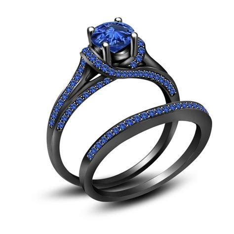 3.50 ct Blue Sapphire Full Black 925 Sterling Silver
