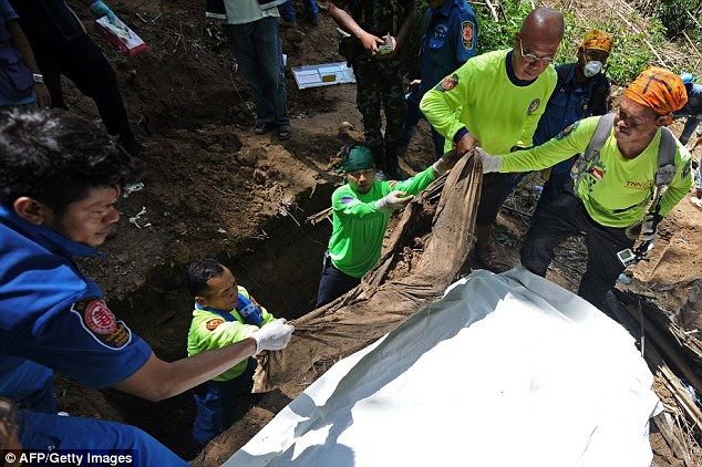 Horrific: It is not known how the migrants died but a Thai police chief has made an ominous prediction that they suffered a 'violent death'