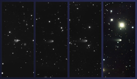 Images of Comet ISON obtained using the Gemini Multi-Object Spectrograph at Gemini North on February 4, March 4, April 3, and May 4, 2013 (left to right, respectively; Comet ISON at center in all images). Color composite produced by Travis Rector, University of Alaska Anchorage. Credit: Gemini Observatory/AURA