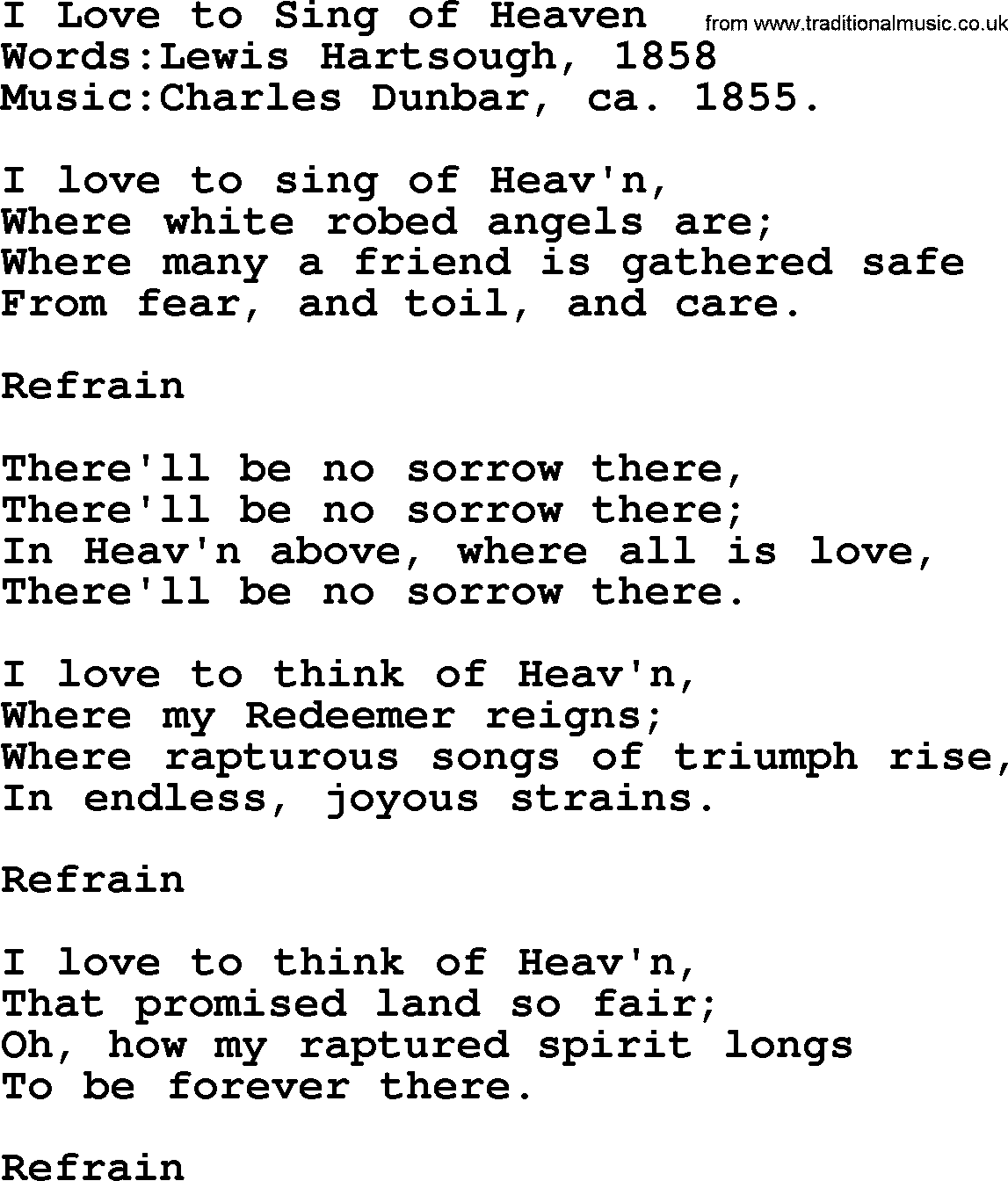 Hymns And Songs About Heaven I Love To Sing Of Heaven Lyrics And Pdf