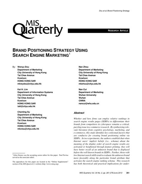 (PDF) Brand Positioning Strategy Using Search Engine Marketing
