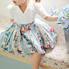 PatPat Blue Toddler Dress 18-24 mo Unisex Polyester - Little Lady Floral A-Line Dress for Baby Girl
