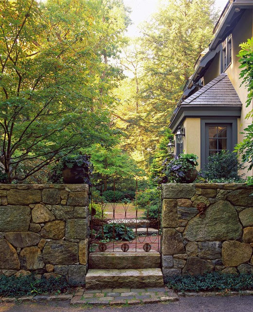 Wrought-Iron Gate and Brick Path - Rustic - Landscape - boston - by Julie Moir Messervy Design Studio (JMMDS)