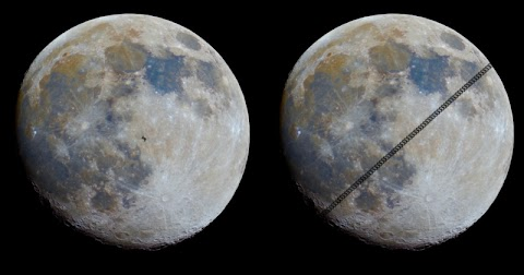 Photog Captures Footage of the ISS Traveling In Front of a 'Mineral Moon'