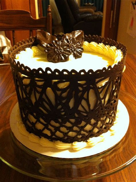 Dark Chocolate Lace Work Cake   Favorite Cake Designs