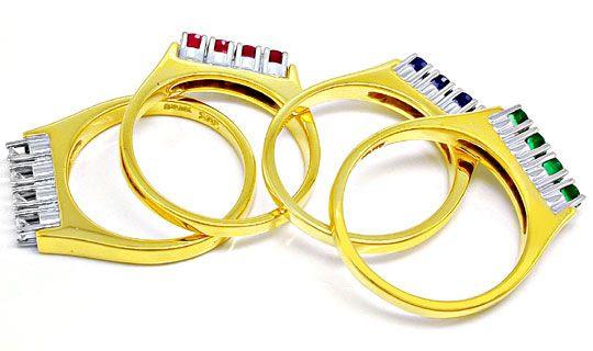 Foto 3, 4 Ringe, Brillanten Safire Rubine Smaragde, Luxus! Neu!, S8646