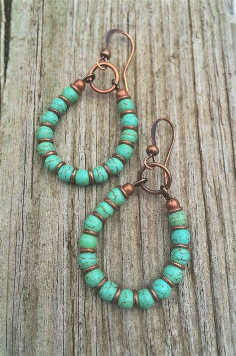 turquoise hoop earrings copper  turquoise handmade