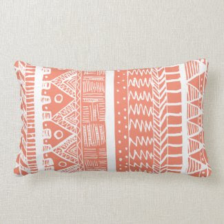 Boho Coral Aztec Pillows