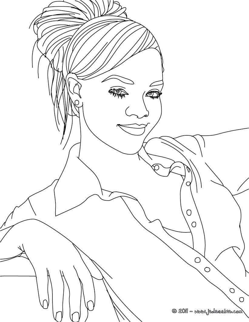 Coloriage Rihanna déguisée gratuit Coloriage Rihanna cheveux long gratuit