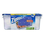 Ziploc Rectangle Food Storage Containers, Blue/Clear - 2 pack