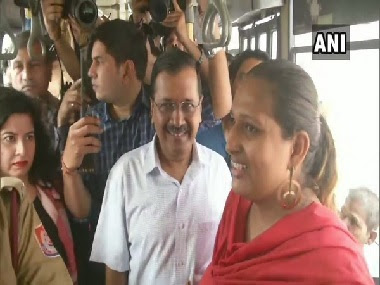 Delhi chief minister Arvind Kejriwal rides in a DTC bus in Delhi. ANI