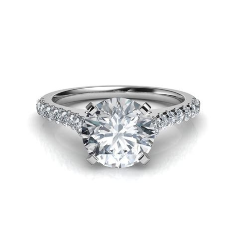 Round Cut Tall Cathedral Diamond Engagement Ring Natalie