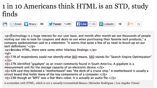 On the positive side, this means 10 out of 10 Americans think contact with HTML will prevent you fro