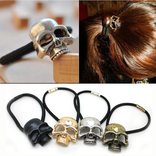 1PC Halloween Retro Punk Gothic Metal Skull Hair Tie Fashion Birds Crow Skull Elastic Hair Bands Hair Accessories Jewelry - free shipping worldwide