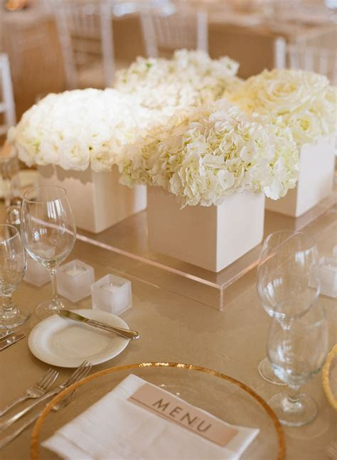 Low White Hydrangea and Garden Rose Centerpieces   Someday