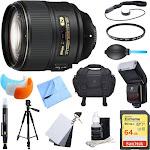 Nikon AF-S NIKKOR 105mm f/1.4E ED Lens. 64GB Card, Flash, and Accessories Bundle