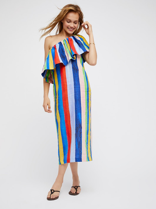 Mara Hoffman One Shoulder Colorful Midi Dress at Free People Clothing Boutique