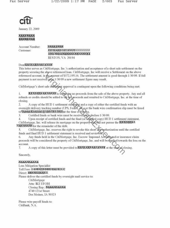 Heloc Settlement Offer Letter Sample