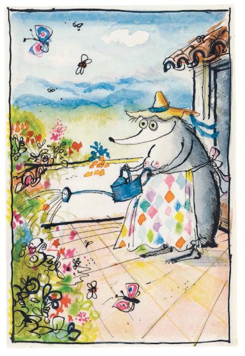 """Mrs Mole was present to cheer every dreaded chemotherapy session and evoke the blissful future ahead."" Ronald Searle, Les Tres Riches Heures de Mrs Mole"