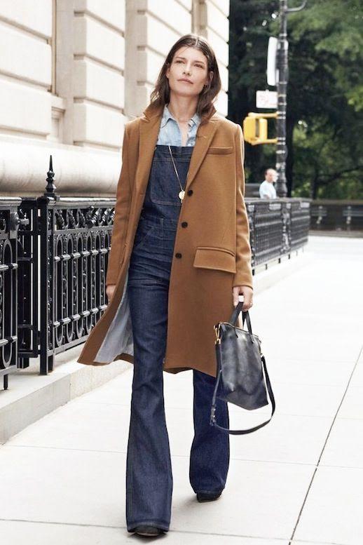 Le Fashion Blog Winter Style Madewell Long Wool Camel Coat Dark Denim Flared Overalls Chambray Shirt Via Madewell