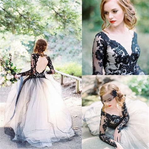 Vintage White Black Lace Wedding Dress Gothic Long Sleeves