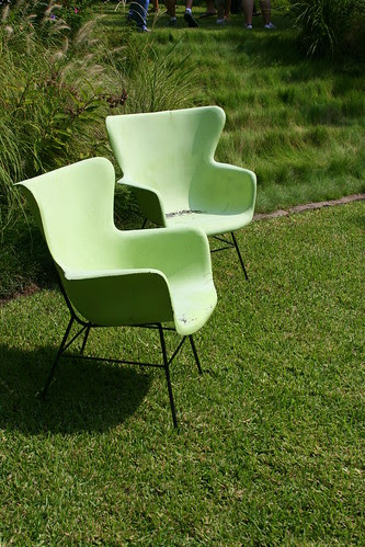 chairs and grassy waterfall