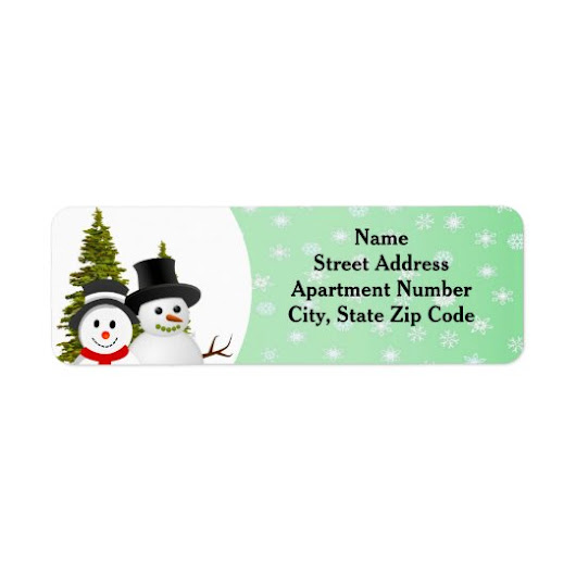Snowman and Snowflake Holiday Season Address Label