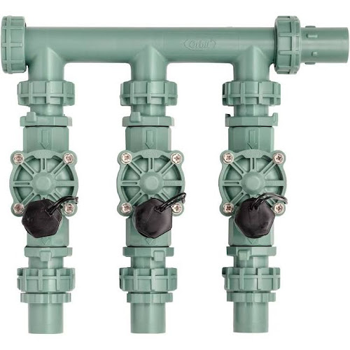 Orbit 3-Valve Preembled Irrigation Manifold with Easy Wire on wiring sprinkler system, lawn sprinkler zone valves, sprinkler system valves, wiring sprinkler repair, wiring a solenoid valve, water sprinkler valves, arduino water valves, wiring relays for power windows,