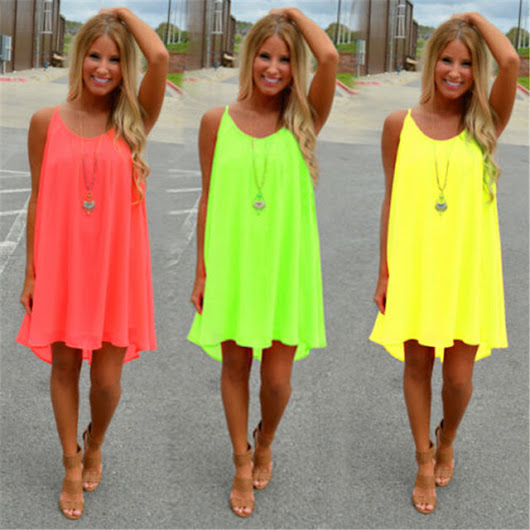 Women Sexy Candy Color Summer  Dress - free shipping worldwide