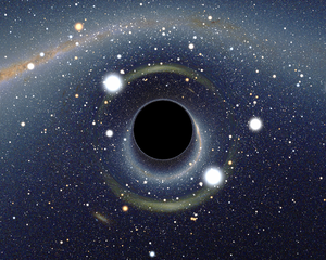 Simulated view of a black hole in front of the...