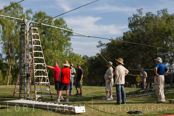 Setting up the tower for SOARA's ARRL Field Day