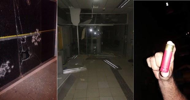 Em Governador Dix-Sept Rosado, além da explosão em um dos terminais, os criminosos também atiraram nas vidraças da agência (Foto: PM/Divulgação)
