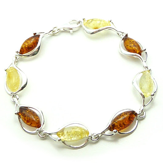 Cognac and yellow colour Amber and SilverBracelet