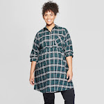 Maternity Long Sleeve Plus Size Plaid Flannel Popover Tunic - Isabel Maternity by Ingrid & Isabel Green 1X, Women's, Size: 1XL