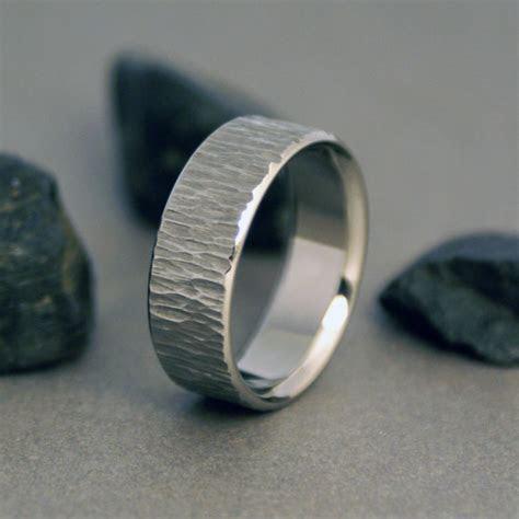 Titanium Ring, Wood Grain, White Ash Tree, Mens Ring