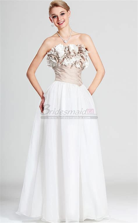 Strapless Chiffon White Long Bridesmaid Dress BD CA502
