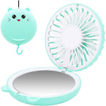 Lucky Cat Portable Necklace Personal Fan and Handheld Make Up Mirror Green