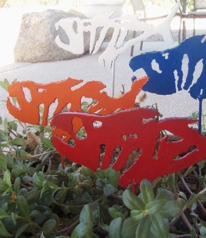 Outdoor Fish Metal Fish Plant Stake Steel Fishing Yard Art